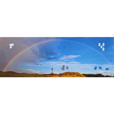 1000-Teile Puzzle Amrumer Leuchtturm unter dem Regenbogen