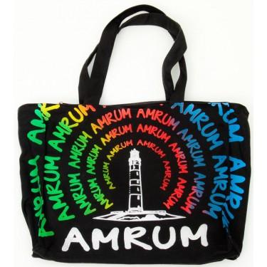 Amrum-Tasche mit Leuchtturm, in Regenbogenfarben