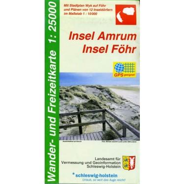 Wander- und Freizeitkarte Insel Amrum - Insel Föhr    1: 25000, nur gefaltet